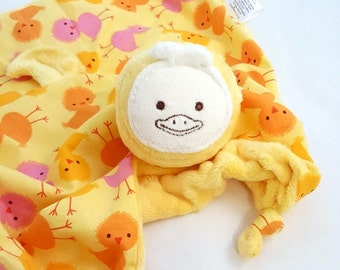 Baby Girl Blanket, Yellow Duck Minky Security Blanket, Baby Lovey Blanket, Soft Baby Toy, Stuffed Animal, Baby Blanket Urban Zoologie Chicks