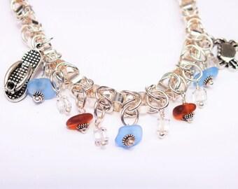 Silver Sea Glass Bracelet - Lake Erie Beach Glass - Beach Bracelet - FREE Shipping inside the United States