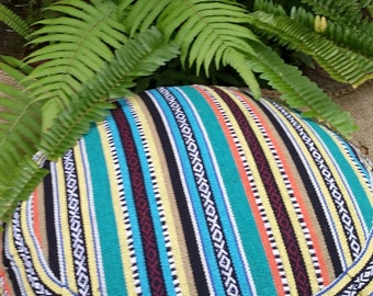 Exotic Lima Hasina Cotton Fabric  Round Buckwheat Hull Meditation Cushion