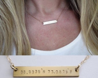 Coordinates Gold Bar Necklace Hand Stamped Jewelry -Layering Necklace by Betsy Farmer Designs - Available in Yellow gold and Sterling