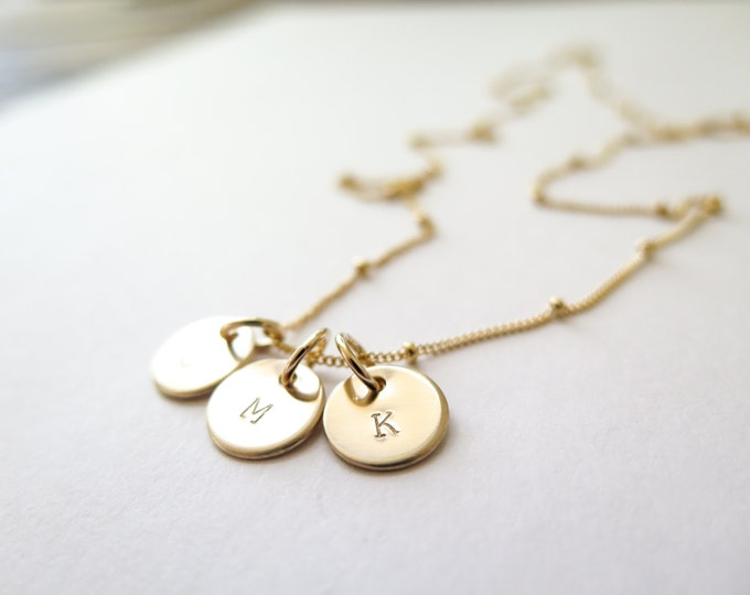 Dainty Initial Necklace / 14k Gold Fill Hand Stamped Tiny Discs Necklace Personalized Customizable by Betsy Farmer Designs