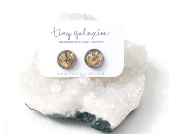 grey and gold leaf resin earrings on sterling silver posts