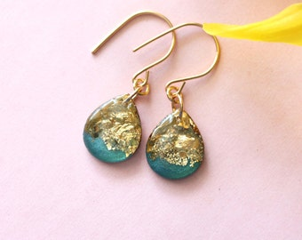 teal dangle earrings with gold leaf and glitter on 14 karat gold ear wires, 1.25 inches long, blue drop earrings - SMALL SIZE