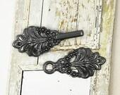 HOOK And EYE Fasteners - Bouquet Cloak Clasp Black Gunmetal Fasteners.  5 Pairs.