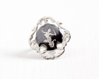 Vintage Sterling Silver Dark Gray Niello Siam Ring - 1940s Size 6 1/2 Thai Thailand Goddess Dancer Unique Filigree Statement Shield Jewelry