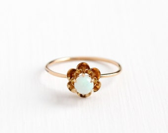 Sale - Antique 10k Rosy Yellow Gold Opal Solitaire Ring -  Edwardian Round Gem Size 8 1/2 Stick Pin Conversion Buttercup Flower Fine Jewelry
