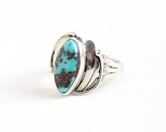 Sale - Vintage Sterling Silver Turquoise Blue Stone Ring - Size 8 Retro Southwestern Native American Style Leaf Triple Split Shank Jewelry
