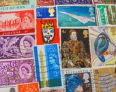 Bangers and Mash 50 Vintage Postage Stamps United Kingdom Great Britain England London Edinburgh British Monarchy Liverpool Manchester UK GB