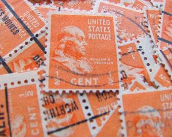 It's Electric 50 Vintage Ben Franklin US Postage Stamps Orange 1/2c Electricity Postmaster General Embellishments Scrapbooking Mail Art 803