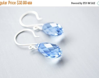 25OFFSALE Earrings, Silver Earrings, Crystal Earrings, Blue Earrings, Light Sapphire, Swarovski Crystal, Briolette Crystals, No. ESH014