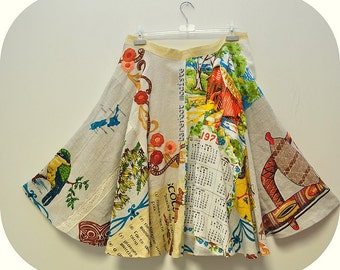 Time Traveller - Short Recycled Linens Patchwork Skirt, OOAK Bohemian Elegance,  Art to Wear, B Modiste Handmade, Suited for - Medium