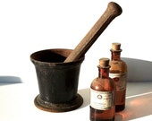 Vintage Mortar and Pestle / Cast Iron / Medicine Science Pharmacy / Seed and Nut Pulverizer / Cooking Kitchen Garden / As Is Rusty