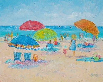 Beach Painting, oil painting, beach art, beach decor, coastal decor, tropical decor, beach umbrellas, people, Jan Matson