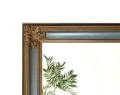 Vintage Provincial Blue and Gold Acanthus Wall Mirror