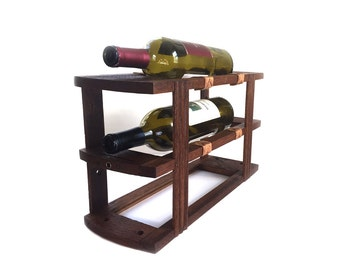 Industrial Wine Rack Bottle Holder made from Antique Sewing Machine Drawer Frames - Holds 3 Bottles