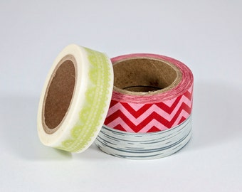 Washi Tape Coordinating Trio - Green Lace, Red Pink Chevron, Grey Woodgrain - Set of 3
