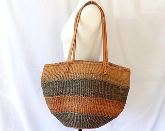 African Sisal Market Bag Hand Woven in Kenya with Leather Handles Extra Large