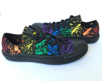 "Gay Pride Paint Splatter Custom Converse Shoes ""The Makaela"""