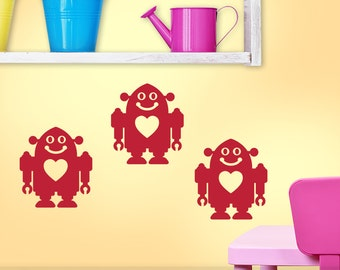 Geekery Wall Decals, Sci Fi Decor, Kids Room Wall Decor, Playroom Decals, Baby Retro Robot Wall Stickers (001610a0v)