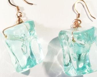 Copper Aqua Water Cube Earrings.