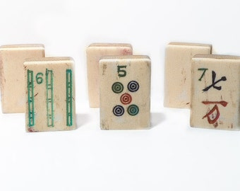 Six Mahjong Tiles in Bone and Dovetail Bamboo