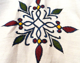 Fab Ethiopian Handmade White Cotton Embroidered Robe/Jacket, OS