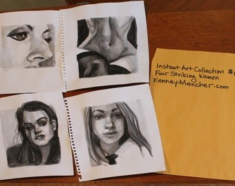 Instant Art Collection:Four Striking Women, (Four watercolors crayon and watercolor paper 11 x 14 (image is 8 x 10 inches) by Kenney Mencher