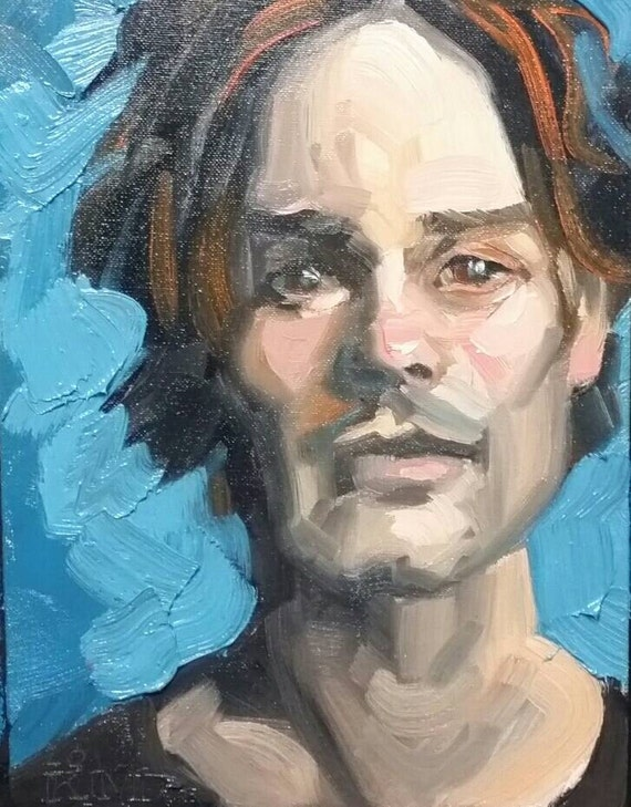 Handsome Young Man with Dark Eyes and Great Bone Structure, oil on canvas panel 9 x 12 inches Kenney Mencher www.Kenney-Mencher.com