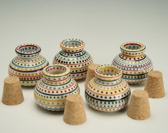 One Salt Cellar Jar with Cork for Herbs, Spices, Treasures, Hand Painted Stripes and Dots in Earth Jewel Tones