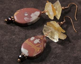 Baked Clay earrings: matte noreena jasper, rough citrine nuggets, garnet, copper