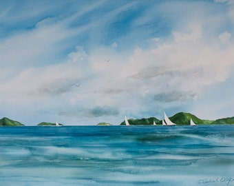 Tropical Sails II, Watercolor Giclee Print, Imaginary Islands, Pacific, Clouds Sailboats, Seascape