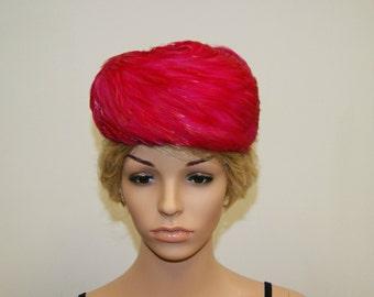 Vintage 50's Fuchsia Pink Feather Fascinator Pillbox Hat by B Altman & Co