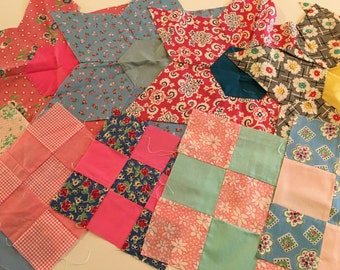 Vintage Quilt Blocks 9 Patch 6 point Stars and Diamonds Lot of over 50 pieces  Feedsack Fabrics