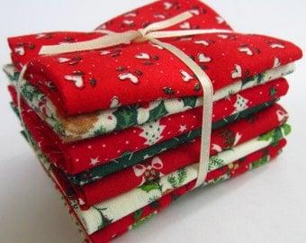 8 Assorted Christmas Cotton Fabric Scraps, Fat Sixteenths, Stash Builder, Destash, Quilting, Sewing