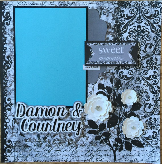 Custom Made Wedding Scrapbook Album, YOU CHOOSE COLORS, Personalized Wedding Album, Premade Wedding Scrapbook Album, Wedding Gift