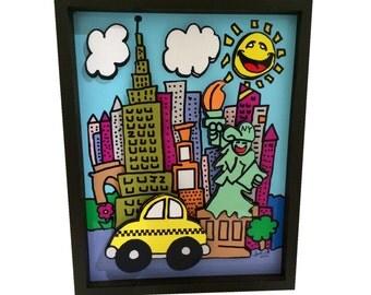 New York City Pop Art NYC 3D Art Print Taxi Cab Statue of Liberty