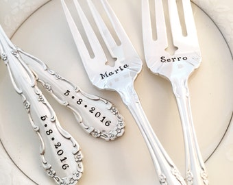 """Personalized forks """"flirtation"""", hand stamped forks with date"""