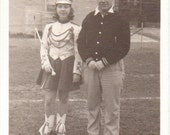Vintage Photo - Majorette and Dad - Vintage Photograph, Ephemera, Vernacular, Found Photo, Snapshot (C)