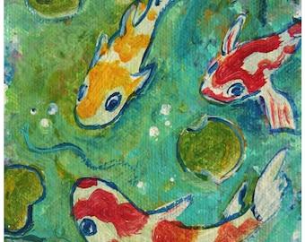 Koi Pond Print Poster Art
