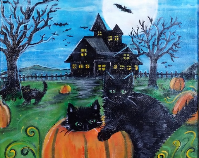 Scaredy Cats Original Painting  Free Shipping USA