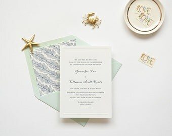 Letterpress Wedding Invitation Sample - The Oahu Collection