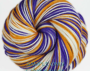 "Dyed to Order: Self-striping Hand-dyed Sock Yarn - ""PURPLE - GOLD - WHITE"" - Football yarn - Baseball - School colors yarn - Minnesota - L.A"