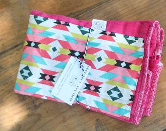 Hand Dyed burp cloth with aztec fabric panel