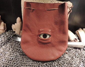 Medium bag---Brown  leather  with Pale Eye