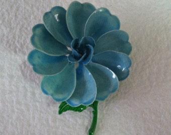 Rockin' Robin: Vintage Blue Metal Enamel Flower Brooch Oversized SALE