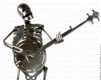 Zombie Skeleton Playing Banjo Metal Sculpture