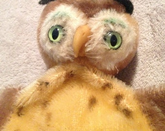 Genuine Steiff OWL Hand Puppet, Great Condition, 1960s Collectible