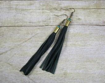 Leather Earrings - Leather Jewelry - Fringe Earrings - Dangle Earrings - Boho Earrings - Long Earrings