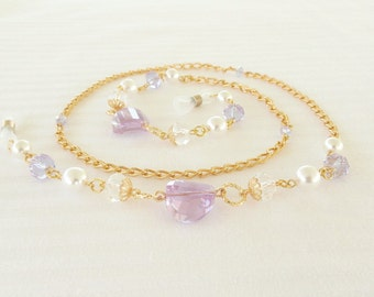 Purple Gold Eyeglass Holder White Pearl and Crystal, Beaded Gold Eyeglass Chain, Gold Glasses Chain, Gold Lanyard, Crystal Glasses Chain