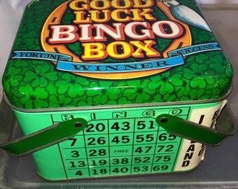 vintage Good luck bingo casino premium advertising metal lunch box lunchbox